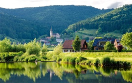Preview wallpaper River, forest, hills, houses, Germany