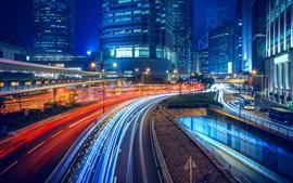 Carretera, autopista, edificios, ciudad, luces, iluminación, Hong, kong, noche