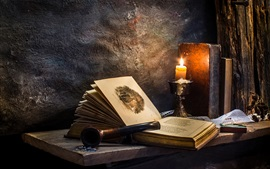 Room, old book, candle, firelight, retro style