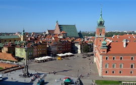 Preview wallpaper Royal Palace, Poland, Warsaw, old town, houses, street