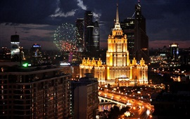 Preview wallpaper Russia, Moscow, city night, lights, buildings, road