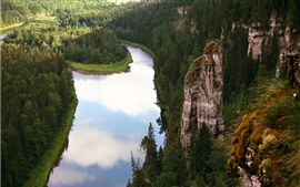 Preview wallpaper Russia, Perm, river, forest, mountain, cliff