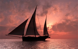 Sail ship at sunset sea