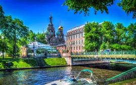 San Petersburgo, Iglesia, Rusia, río, puente, árboles