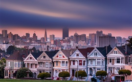 San Francisco, Californie, USA, Alamo Square, maisons, ville, gratte-ciel