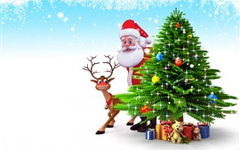 Preview wallpaper Santa Claus, Christmas tree, deer, gifts, 3D art picture