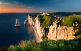 Mar, canal, costa, penhasco, manhã, França