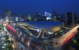 Preview wallpaper Seoul, Korea, city night, Dongdaemun Design Plaza, road, lights