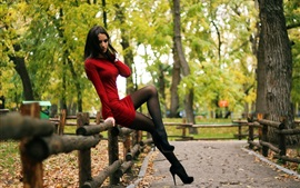 Sexy red dress girl, stockings, park, trees