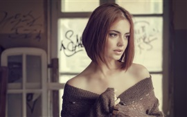 Preview wallpaper Short hair girl, shoulders, sweater, reverie