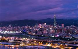 Небоскребы, город ночь, огни, Тайбэй, Тайвань