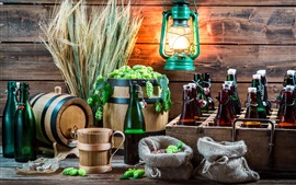 Still life, wheat, hops, beer, bottles, lantern