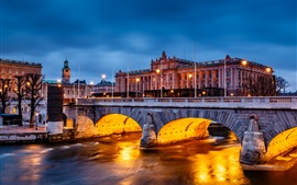 Stockholm, Sweden, city night, Parliament Building, bridge, lights