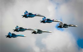 Preview wallpaper Su-27 fighters in sky, Russia air force