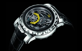 Swiss watch, black background