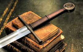 Preview wallpaper Sword and books, retro style