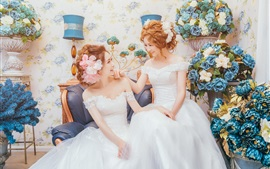 Two girls, bride, twin