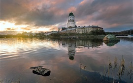 Preview wallpaper Vyborg, Russia, river, houses, clouds, dawn, morning