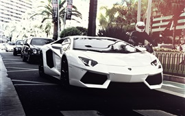 White Lamborghini, motorcycle, city, road