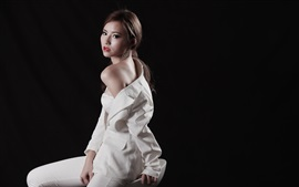Preview wallpaper White dress Asian girl, costume, black background