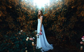 Preview wallpaper White dress girl in garden, crown