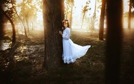 Preview wallpaper White dress girl in the forest, wreath