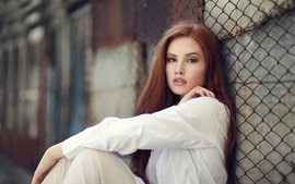 Preview wallpaper White dress girl sit at fence side