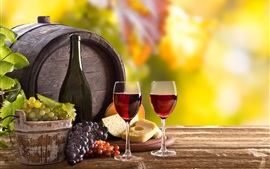 Wine, glass cups, cheese, barrel, green grapes