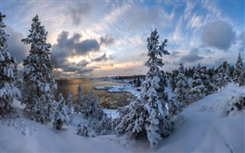 Winter, thick snow, trees, clouds, lake, dusk