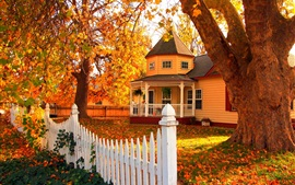 Preview wallpaper Wooden house in autumn, trees, leaves