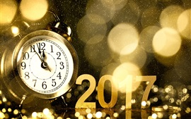 2017 Happy New Year, alarm clock, golden style