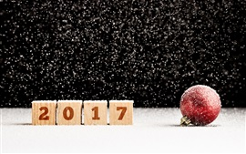 Preview wallpaper 2017 New Year, red Christmas ball, snow
