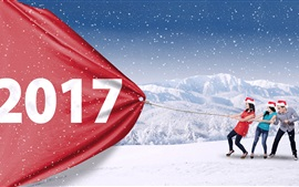 Preview wallpaper 2017 New Year, snow, girls and guy