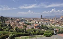 Preview wallpaper Arno, Italy, Florence, city, river, bridge, houses