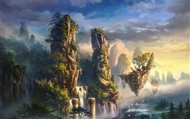 Art drawing, island, mountains, waterfall, clouds, fog, birds, fantasy