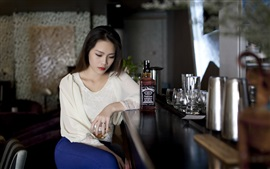 Preview wallpaper Asian girl sadness, bar, Whiskey