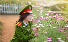 Preview wallpaper Asian military uniform girl and flowers