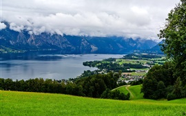 Austria, mountains, trees, grass, town, river, clouds