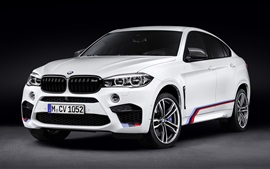 Preview wallpaper BMW F16 X6 M white car front view