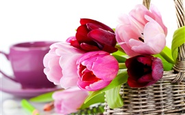 Preview wallpaper Basket, tulips, pink flowers