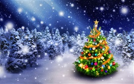 Preview wallpaper Beautiful Christmas tree in the winter, forest, lights, snow