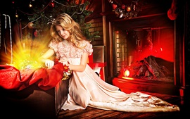 Beautiful blonde girl, princess, fireplace, gift, Christmas, New Year