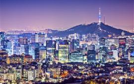 Hermosa noche de la ciudad, Seúl, Corea, edificios, casas, torre, luces