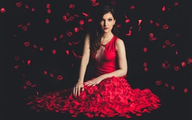 Beautiful red dress girl, petals flight, black background