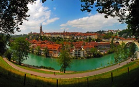 Preview wallpaper Bern, Switzerland, city, river, houses, road, bridge, trees