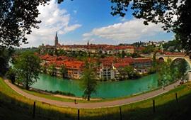 Берн, Швейцария, город, река, дома, дороги, мост, деревья