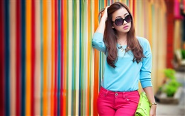 Blue dress Asian girl, sunglasses, street, rainbow background