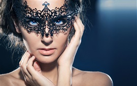 Preview wallpaper Blue eyes girl, mask, makeup, hands