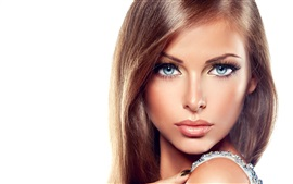 Preview wallpaper Blue eyes model girl, makeup, look