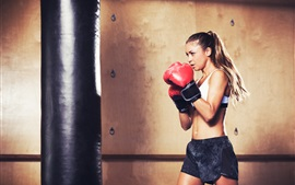 Boxing girl, training